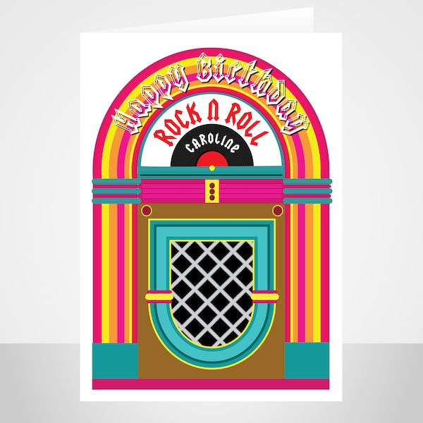 rock n roll happy birthday card for her him edit name