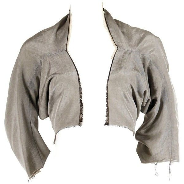 Preowned 1998 Comme Des Garcons Iridescent Grey Shrug ($495) ❤ liked on Polyvore featuring outerwear, grey, shawls, shrug cardigan, gray shawl, grey shawl, gray shrug and grey shrug