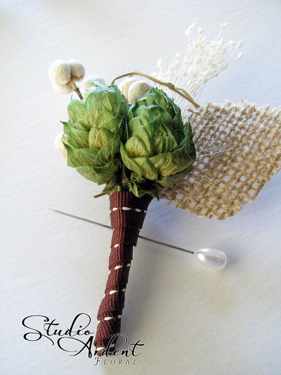 Hops bouteniere  manly boutineers | HOP AROUND Hops Boutonniere Natural Branch and by StudioArdent