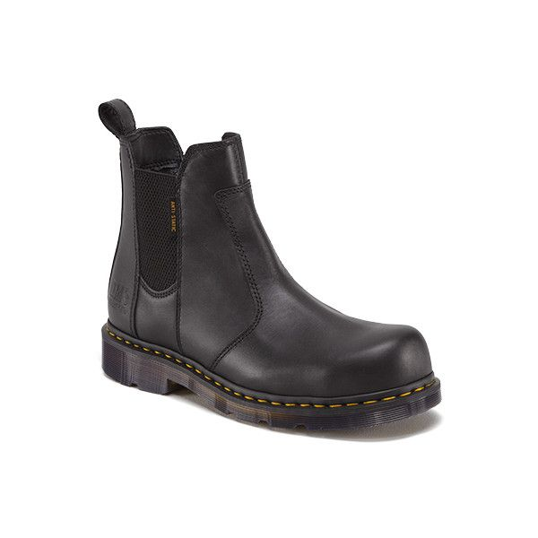 Dr. Martens Fusion Safety Toe Industrial & Rigger Boots (180 AUD) ❤ liked on Polyvore featuring shoes, boots, black, pull on steel toe boots, safety toe boots, slip resistant shoes, chelsea boots and black slip on boots