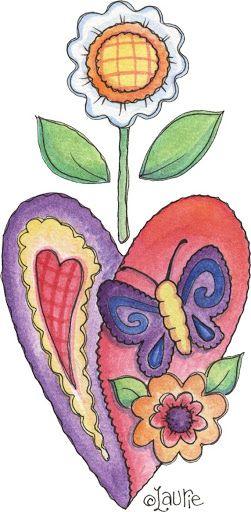 corazón, mariposa, flor