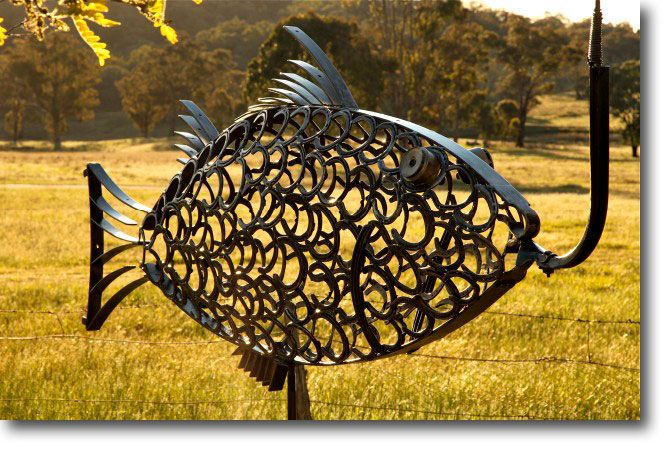 This fish is approximately 1.5m high and 2.2m long and is made from recycled horse shoes and old metal farm scraps - made by Richard Nagel, Mudgee, Australia