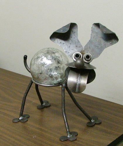 Happy Dog Recycled Scrap Metal Gazing Globe Stand with Silver Leaf Glass Gazing…