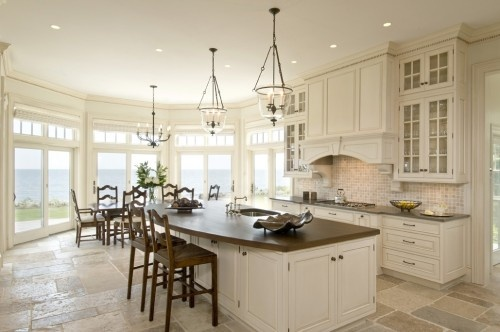 stone floors, cabinets, big island, big windows: Traditional Design, Kitchens Photo, Kitchens Design, Lights Fixtures, Traditional Kitchens, The View, Kitchens Ideas, Kitchens Islands, White Kitchens