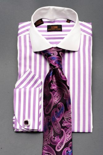 Details about dress shirt by steven land spread collar for Purple french cuff dress shirt