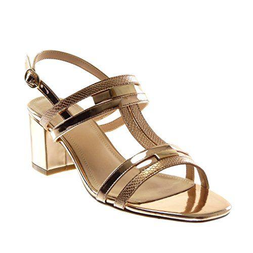 6f18d01ac7a6d4 Angkorly Chaussure Mode Sandale Escarpin Lanière Cheville Femme Multi-Bride  Peau de Serpent Brillant Talon