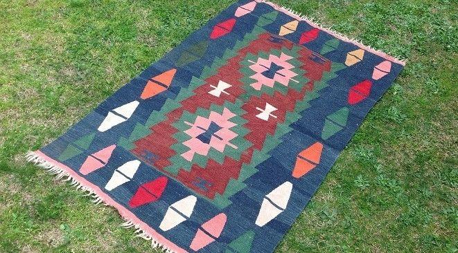 """Blue Turkish kilim rug """"Mavi"""""""