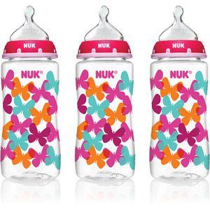 NUK 10-oz Silicone Orthodontic Bottles, Medium Flow, Set of 3, Fashion Girl Design, BPA-Free