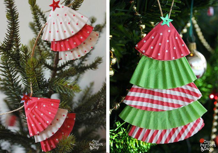 Alberi di Natale creati con la carta dei cupcakes #paper #christmas #tree #DIY