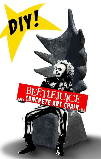 DIY Beetlejuice Concrete Art Chair