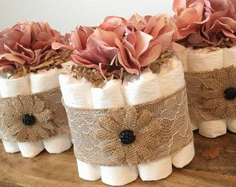 Rustic Shabby chic diaper cake with pearl by JennyKnickDesigns