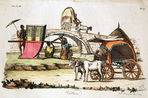 Take a look at the different modes of Indian transport in 1790 through this beautiful print!