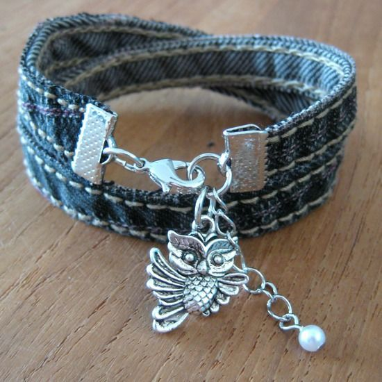 "{Recycled Jeans Bracelet - By MiekK} Something to do with the ""scraps"" from shorts. Ya know, the pieces you debate on throwing away but, you just can""t do it cuz ""One day, I""ll do something with you""!"