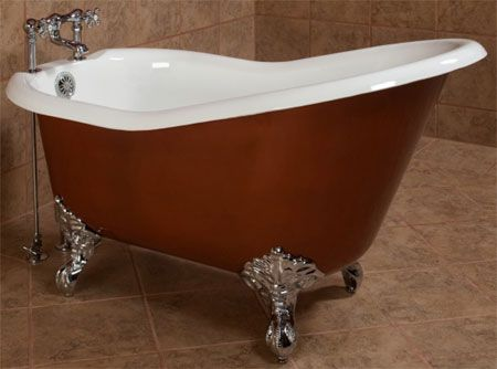 image gallery for clawfoot slipper tub with chrome feet custom painted slipper tub with chrome imperial feet shown with chrome deckmount clawfoot faucet