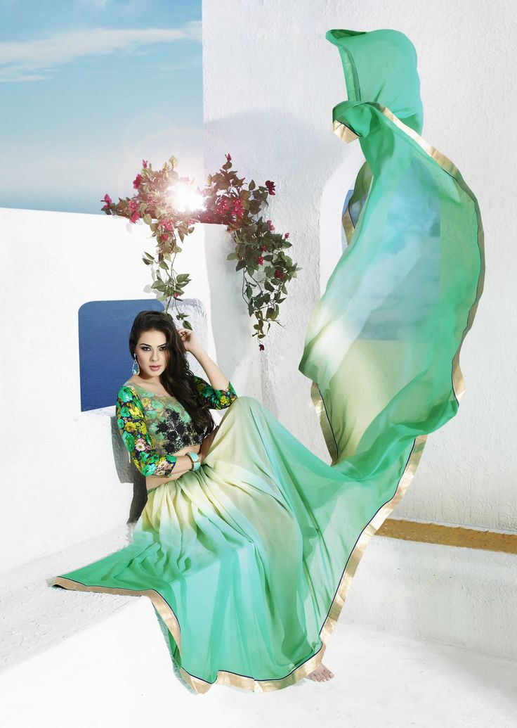 buy saree online Green Colour Georgette Printed Party Wear Saree Buy Saree online - Buy Sarees online
