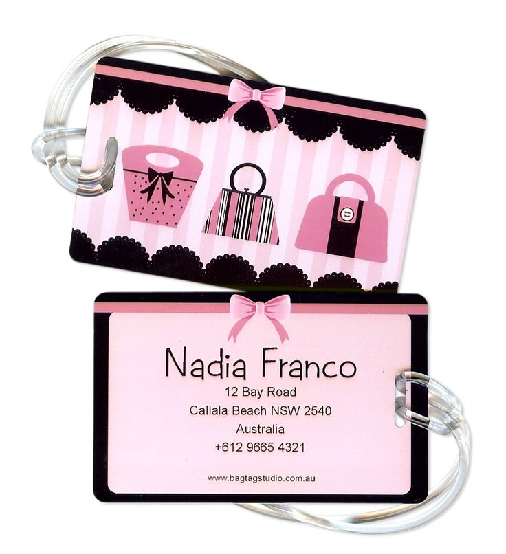 Personalised luggage tags in handbag diva (set of 2)