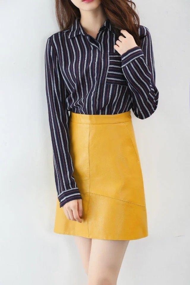 Bella Philosophy spring new PU faux leather skirt women high waist skirt pink yellow black back zipper pocket mini skrit - MISS LADIES