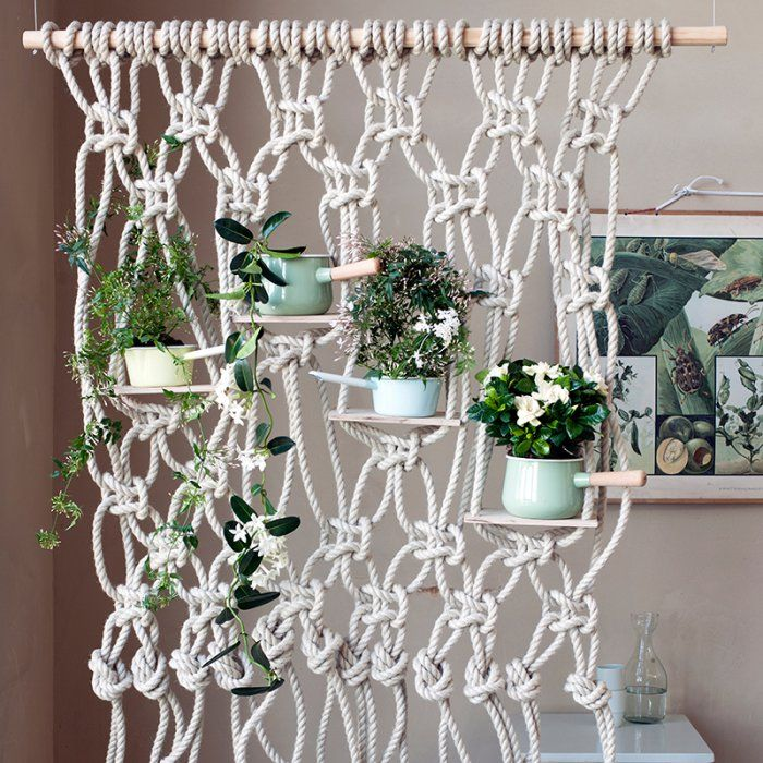 1000 id es sur le th me rideaux en crochet sur pinterest filet crochet crochet et album - Comment faire une suspension en macrame ...