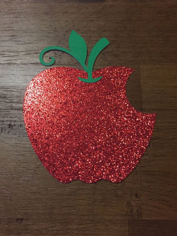 5 Snow White Bitten Apple Glitter Paper Cutouts by MonroeAndCoShop