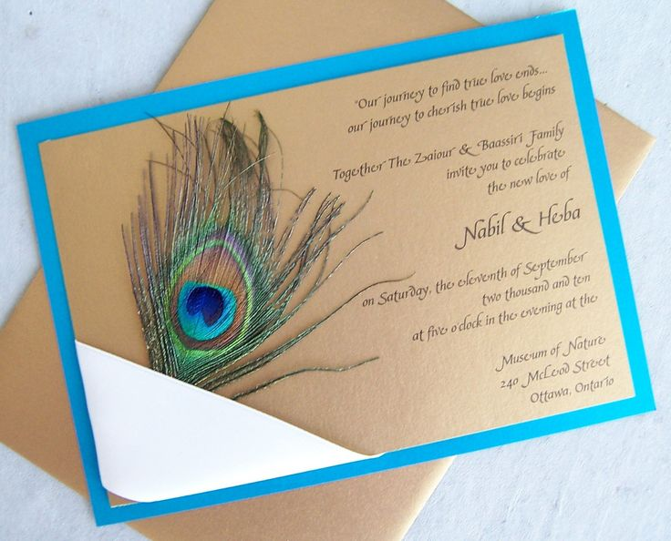 Peacock wedding invitation, gold, teal, aqua, ribbon, navy, birthday invitation, peacock invitation. $5.00, via Etsy.