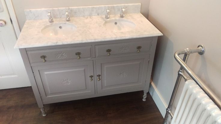 Undermount double door washstand with granite top - upcycled from an old Victorian cupboard that cost £45 on Ebay. Total cost of project including granite and undermount sinks - just under £400. You'd struggle to find something similar in the shops for less than £1000