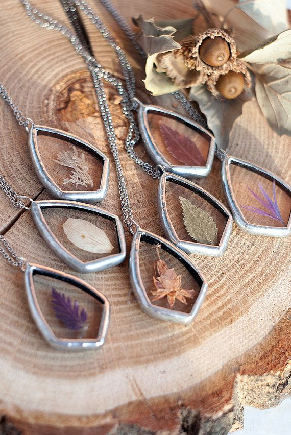 Pressed flowers jewelry pendants stained glass by WWHeart on Etsy