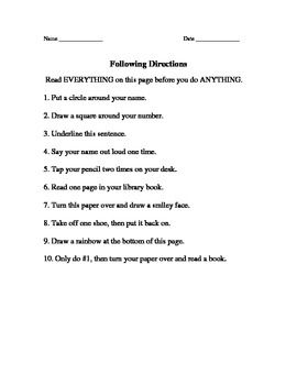 the importance of reading and following directions! The directions ...