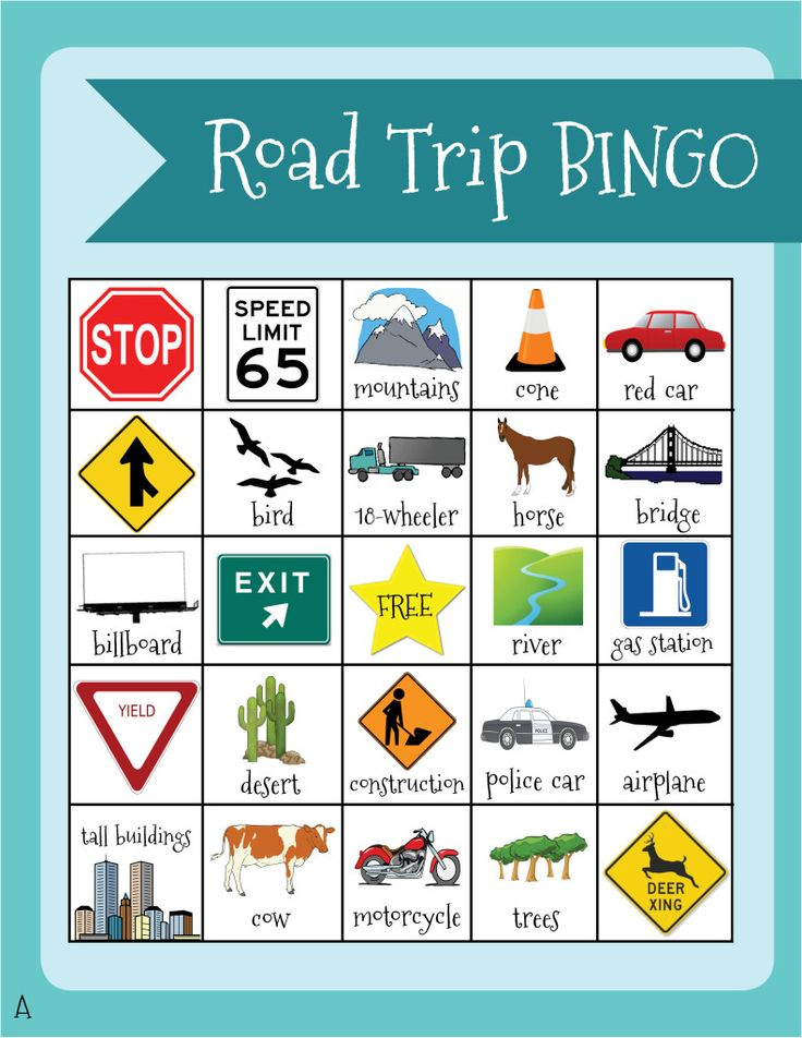 Great idea for a free printable--five versions of travel bingo so each of your kids can have a different one on a road trip