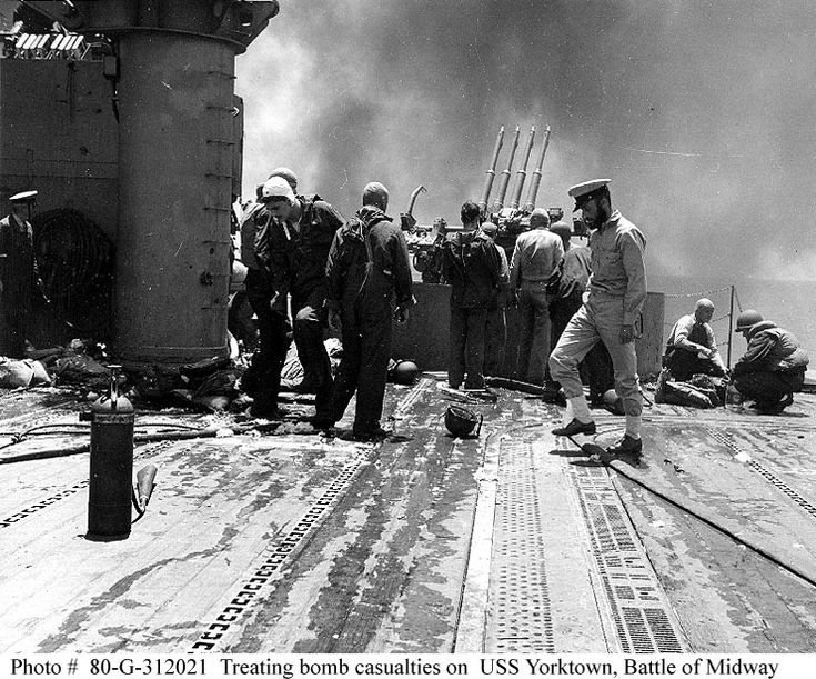 USS Yorktown (CV 5), shortly after the carrier had been hit by Japanese bombs on 4 June 1942
