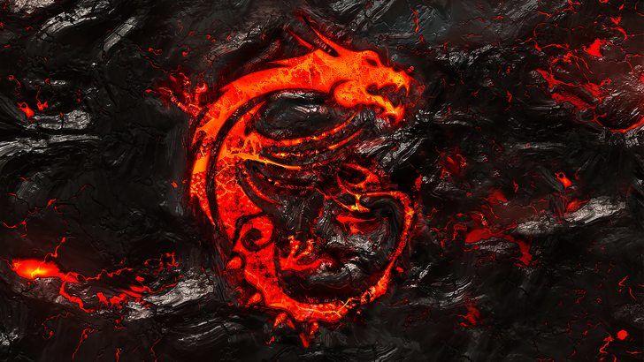 Msi Dragon Logo Burning Lava Background 4k Sfondi Sfondi Desktop Desktop