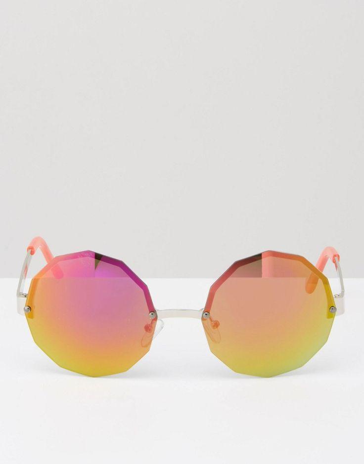 Imagen 2 de Gafas de sol redondas y hexaganoles con lentes de espejo naranjas de Jeepers Peepers