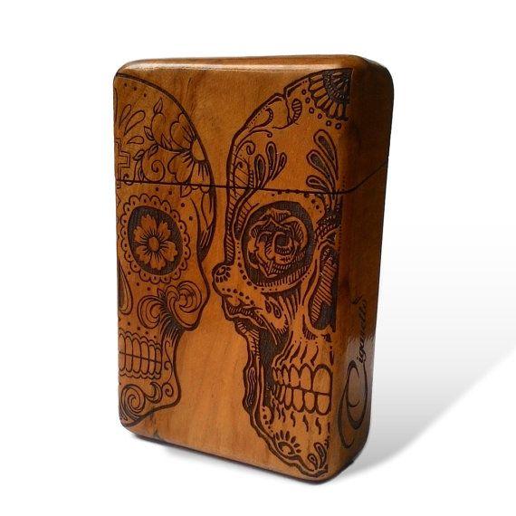 Sugar Skull Java Teak Wood Cigarette Case Cigarette Holder