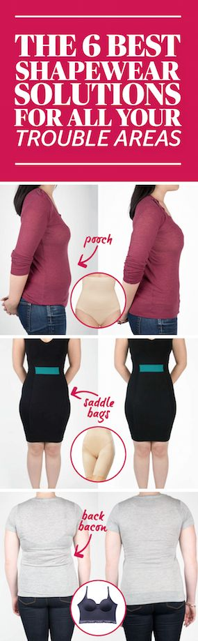 The 6 Best Shapewear Solutions For All Your Trouble Areas- The next time you're complaining to a friend about muffin top, just throw one of these bad boys on and go enjoy a real muffin. Get more fashion hacks for this fall season at redbookmag.com