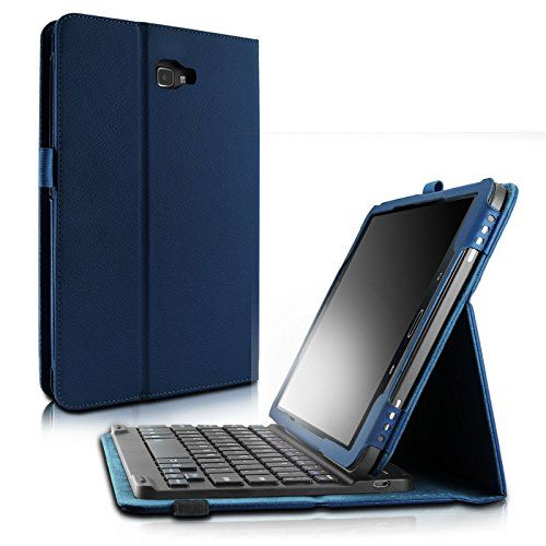 Infiland Samsung Galaxy Tab A 10.1 Keyboard Case, Folio Slim Fit PU Leather Case Cover with Magnetically Detachable Bluetooth Keyboard For Galaxy Tab A 10.1-Inch Tablet (SM-T580/SM-T585), Navy  Specifically Designed For: 2016 Released Samsung Tab A 10.1 (SM-T580/SM-T585) ONLY, Not Fit For Samsung Tab A 10.1 With S pen SM-P580 or other Samsung tablet.  Superior Quality Case: Premium Synthetic Leather with microfiber cloth brings you a solid case, will perfectly protect your Samsung Tab ...