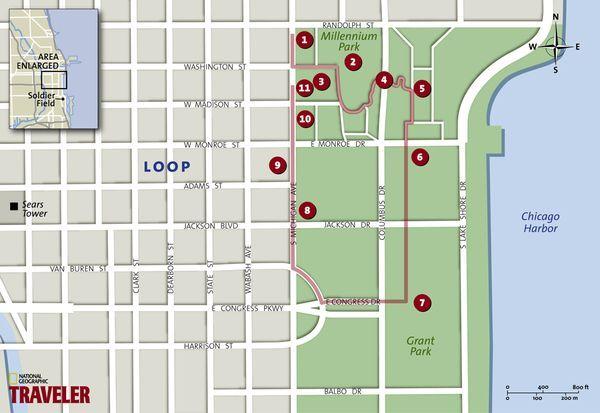 <p>Map: Millennium and Grant Parks, Chicago</p>