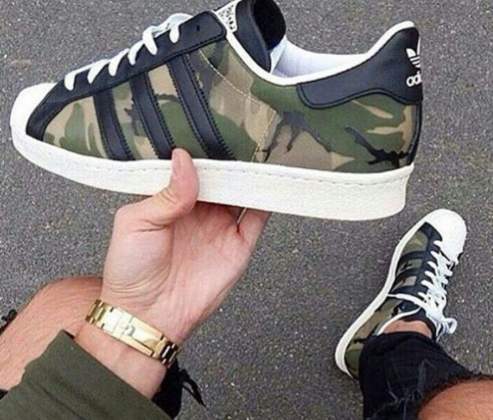 Addidas Super star army pattern