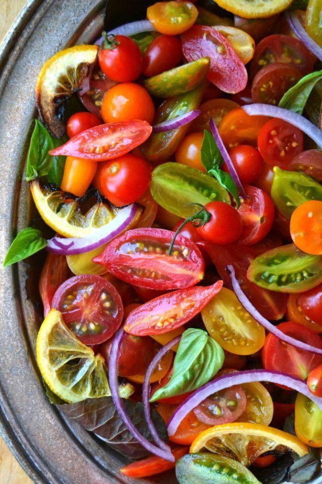 Tomato, Onion, and Roasted Lemon Salad #tomato #onion #salad