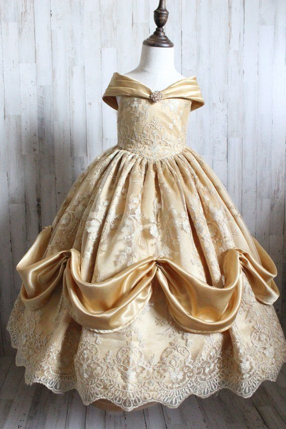 Beauty And The Beast Inspired Belle Ballgown Toddler Girls Etsy Yellow Ballgown Ball Gowns Gowns Of Elegance