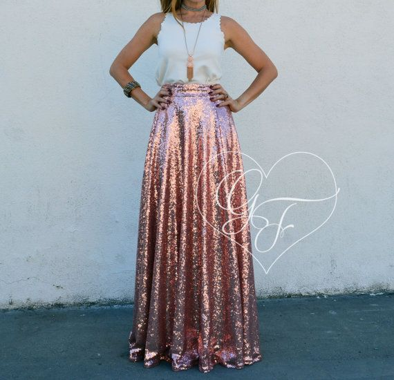Sequin 3/4 Circle Maxi Skirt  Bridesmaid // Party // Holiday // PROM // HOMECOMING // New Years Eve // Formal
