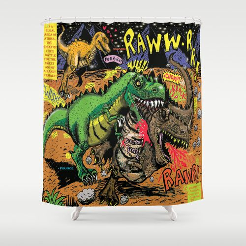 Dinosaur Comic Shower Curtain
