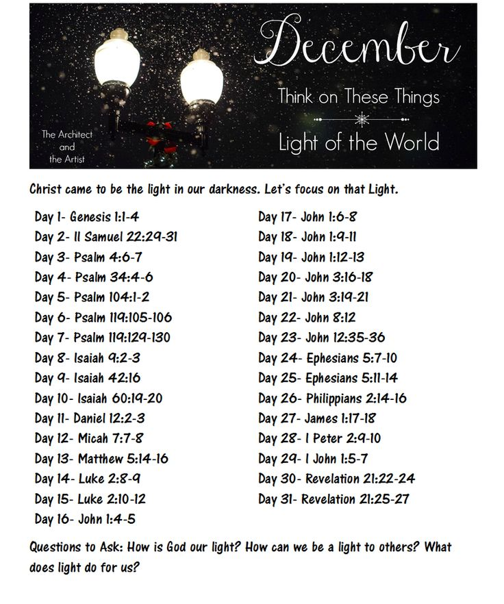 Scripture Writing plan for December. #ThinkOnTheseThings #LightOfTheWorld