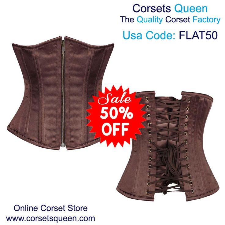 brown underbust corset, brown waist training corset, fashion corset for plus size women