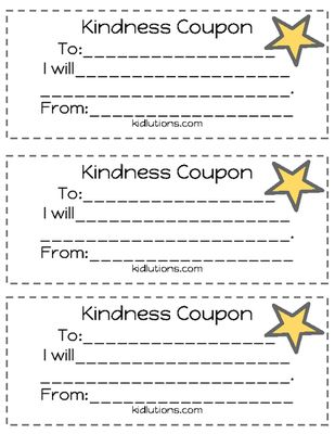 Freebie! #Kindness Coupons! Every time of year is a great time to encourage kindness.