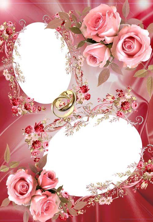 Красивый шаблон для оформления свадебного фото в Фотошопе, 2 выреза для фото, с розами и кольцами