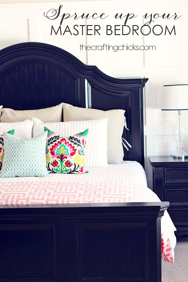 Spruce Up Your Master Bedroom Love The Navy Headboard And Beds