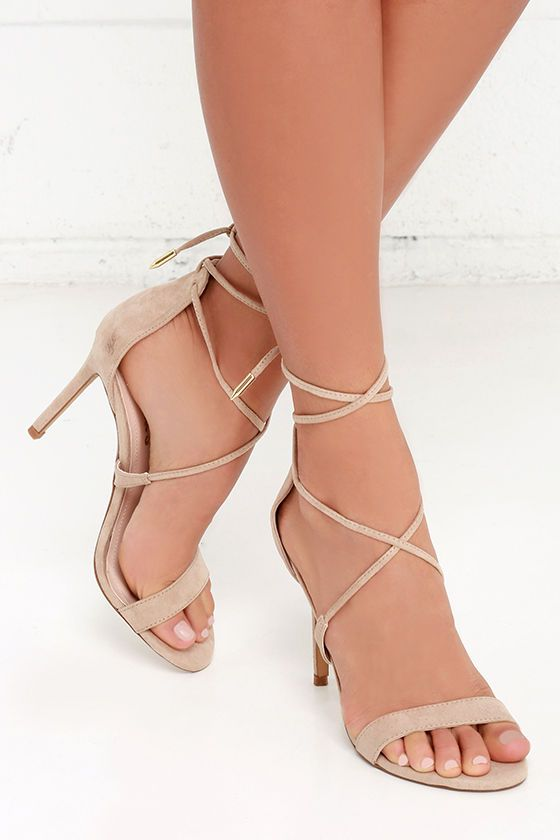 The perfect hybrid between lace-up and peep-toe, the LULUS Romy Taupe Lace-Up Heels own the party! Crisscrossing laces wrap around the ankle and are finished in shiny gold aglets.