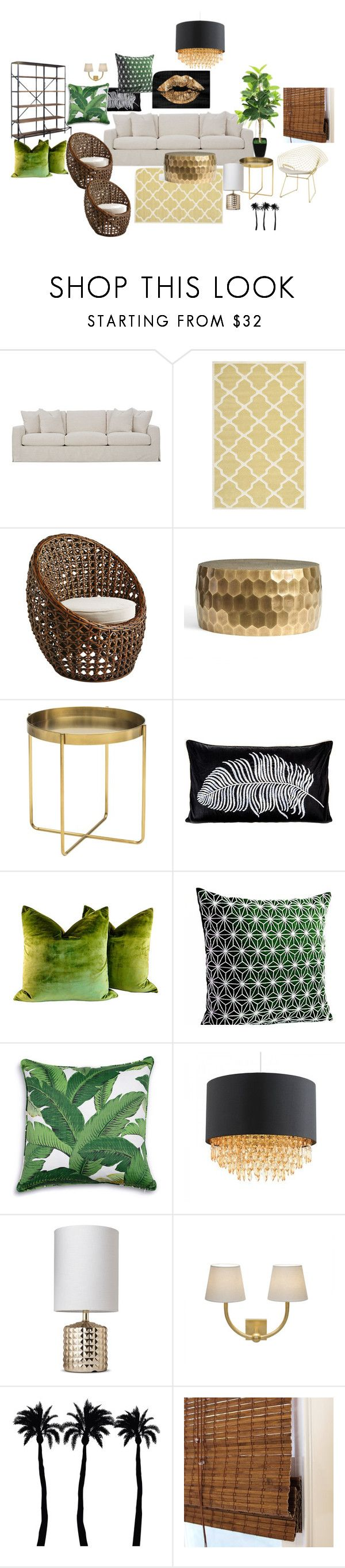 """tropical glam"" by kumi76 on Polyvore featuring interior, interiors, interior design, home, home decor, interior decorating, Robin Bruce, Safavieh, Pottery Barn and Nuevo"