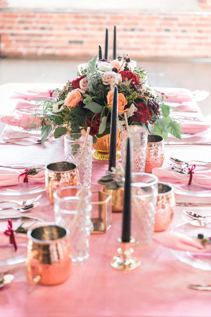 Berry colors, Pink and Greenery Wedding Table Setting