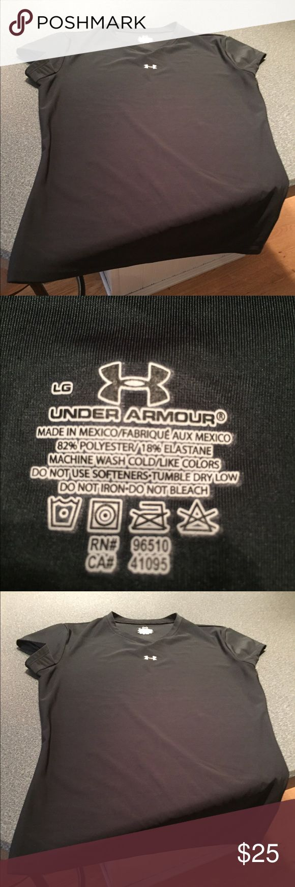 Black under armor compression T-shirt size large Large under armor shorts sleeve 82% polyester 18% a elastase never worn Under Armour Tops Tees - Short Sleeve