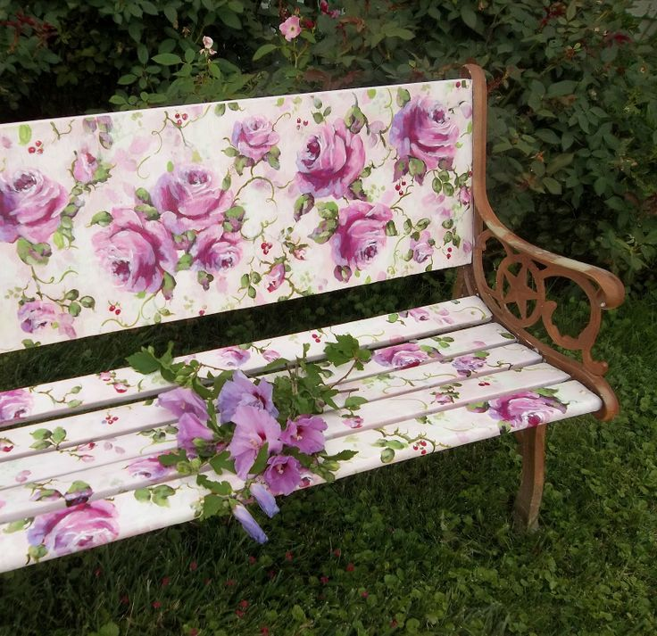 Painted Benches Outdoor Part - 44: Iu0027d Rather Have Different Flowers, But This Is A Beautiful Idea: Hand- Painted Rose Bench Victorian Shabby French Summer Serenity LISA SCHERER